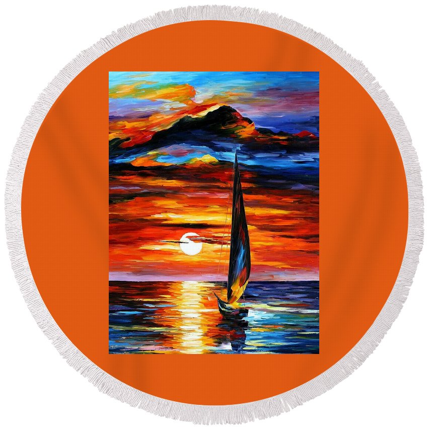 Art Gallery Round Beach Towel featuring the painting Towards The Sun - Palette Knife Oil Painting On Canvas By Leonid Afremov by Leonid Afremov