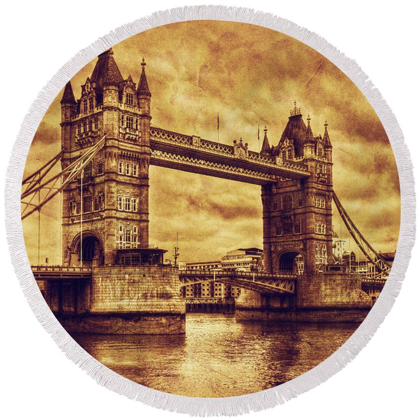 Tower Round Beach Towel featuring the photograph Tower Bridge In London Uk Vintage Style by Michal Bednarek