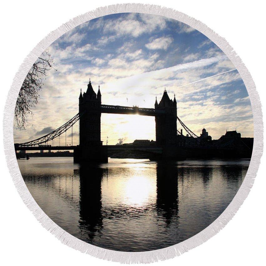 Bridge Tower Bridge Round Beach Towel featuring the photograph Tower Bridge London by Christiane Schulze Art And Photography