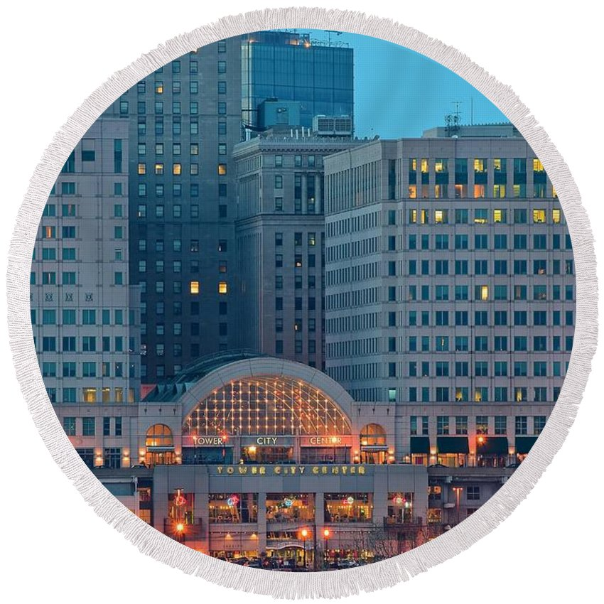 Cleveland Round Beach Towel featuring the photograph Tower City by Frozen in Time Fine Art Photography