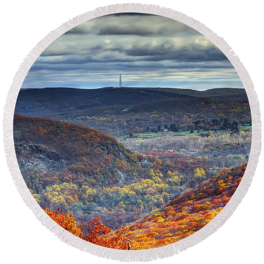 Storm King Mountain Round Beach Towel featuring the photograph Tower In The Distance by Rick Kuperberg Sr