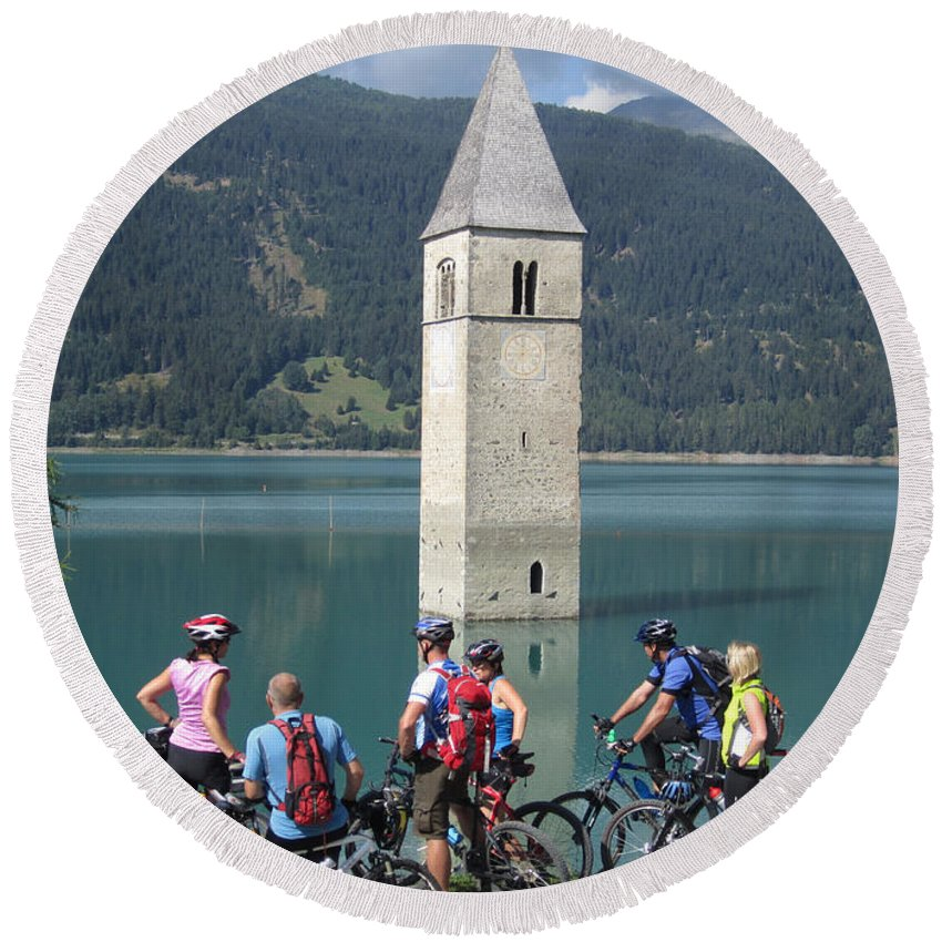 Tower In Lake Reschen Reschensee Artwort The Is Known Local As Campanile Di Curon Venosta Vecchia Italian Kirchturm Von Altgraun German Above Alp Located South Of Pass Tyrol Italy Area Popular With Cyclist A Park Near Handy For Seeking Quick Photo By Michel Guntern Travelnotes Travel Er Pics Travelpics Cycling Transport Transportation Sud Tirol Cover Mountain Water Alpine Europe European Church Tourism Landscape Landmark Sky Old Nature Blue Sunken Adige Bell Forest Scenic Flood Island Background Round Beach Towel featuring the photograph Tower In The Lake by Travel Pics
