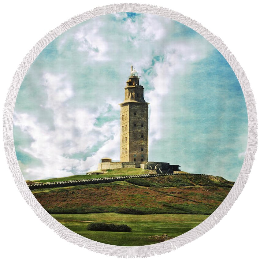 Tower Of Hercules Round Beach Towel featuring the photograph Tower Of Hercules La Coruna by Mary Machare