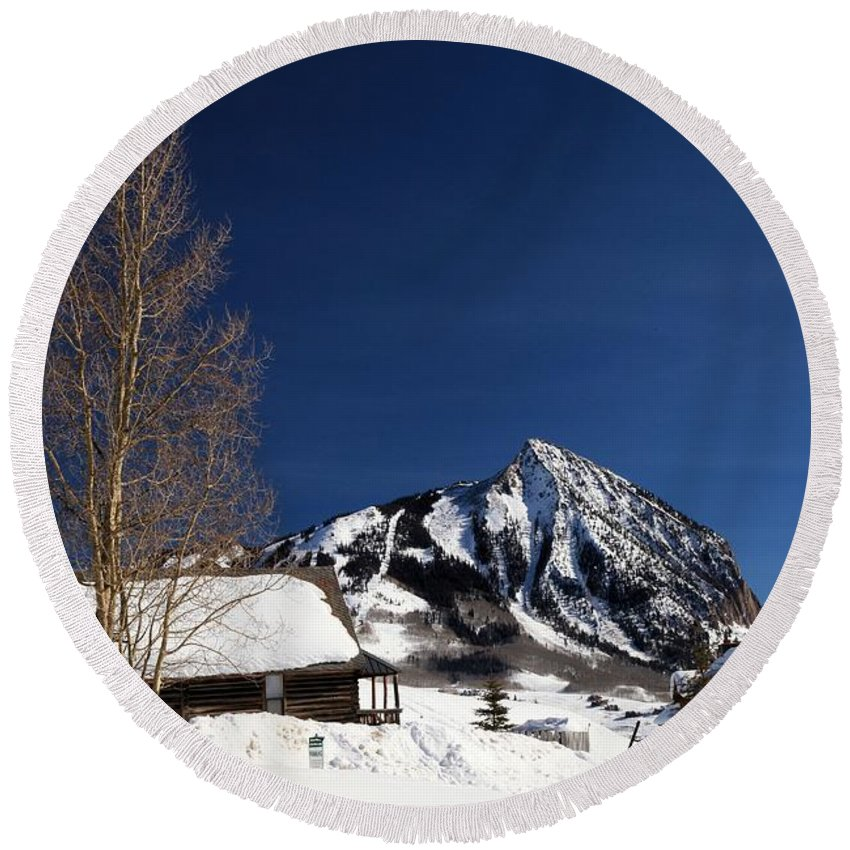 Crested Butte Round Beach Towel featuring the photograph Towering Above Crested Butte by Adam Jewell