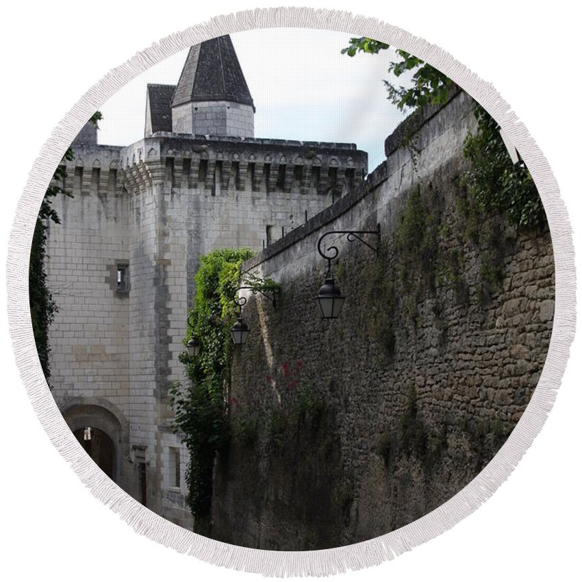 Town Gate Round Beach Towel featuring the photograph Town Gate - Loches - France by Christiane Schulze Art And Photography