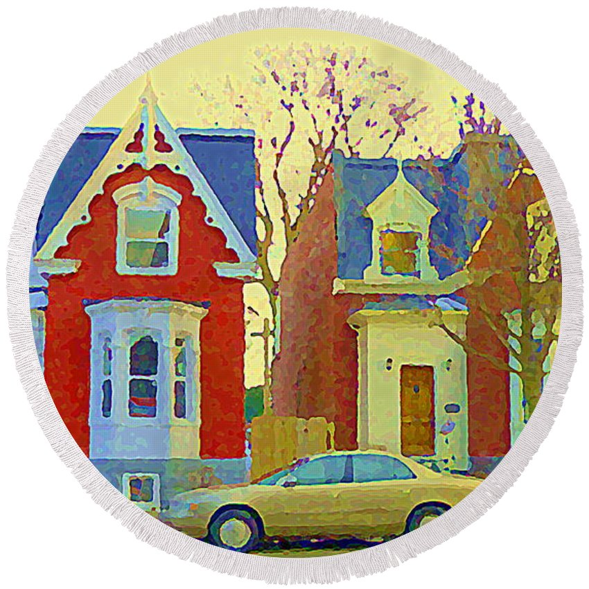Pointe St Charles Round Beach Towel featuring the painting Town Houses In Winter Suburban Side Street South West Montreal City Scene Pointe St Charles Cspandau by Carole Spandau