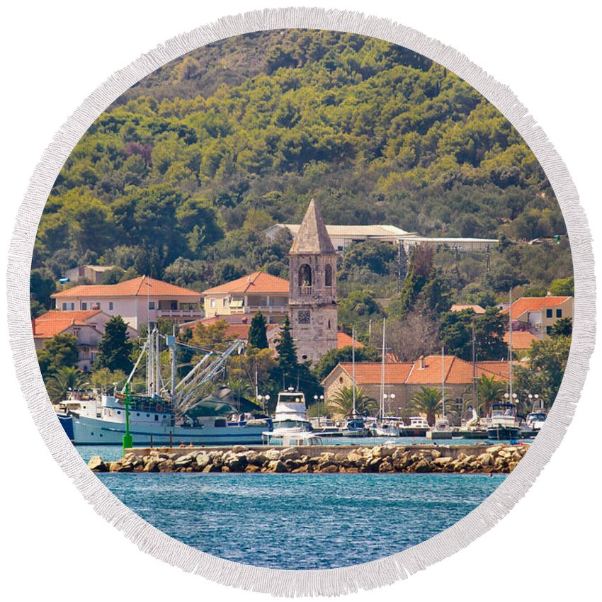 Croatia Round Beach Towel featuring the photograph Town Of Kukljica On Ugljan Island by Brch Photography
