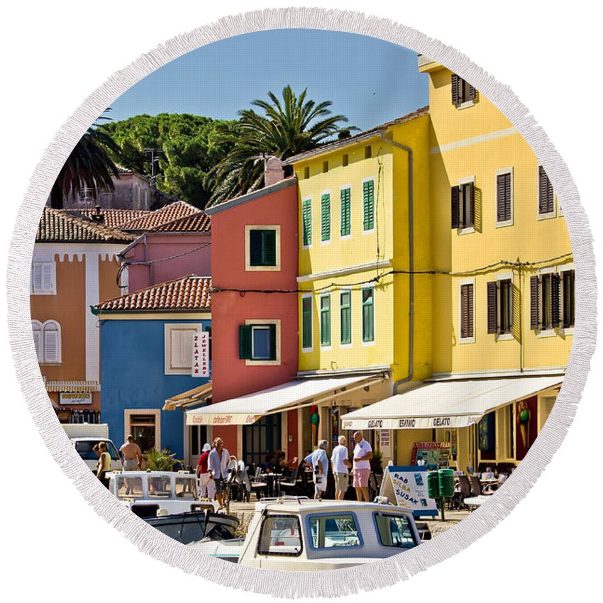 Croatia Round Beach Towel featuring the photograph Town Of Veli Losinj Colorful Waterfront by Brch Photography