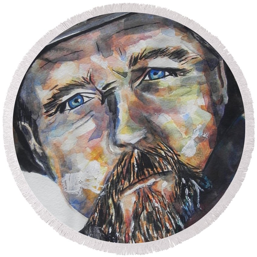 Watercolor Painting Round Beach Towel featuring the painting Trace Adkins..country Singer by Chrisann Ellis