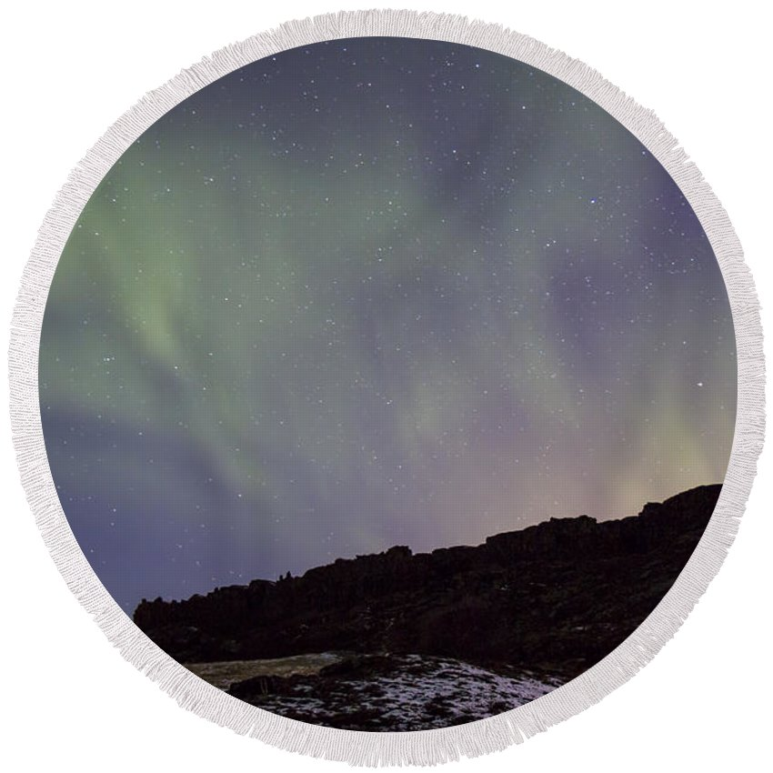 Thingvellir Round Beach Towel featuring the photograph Traces Of Dreams by Evelina Kremsdorf