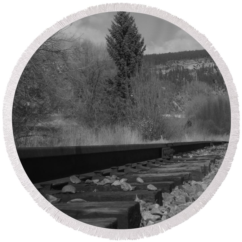 Black & White Photography Round Beach Towel featuring the photograph Tracks And Trees by Kirk Griffith