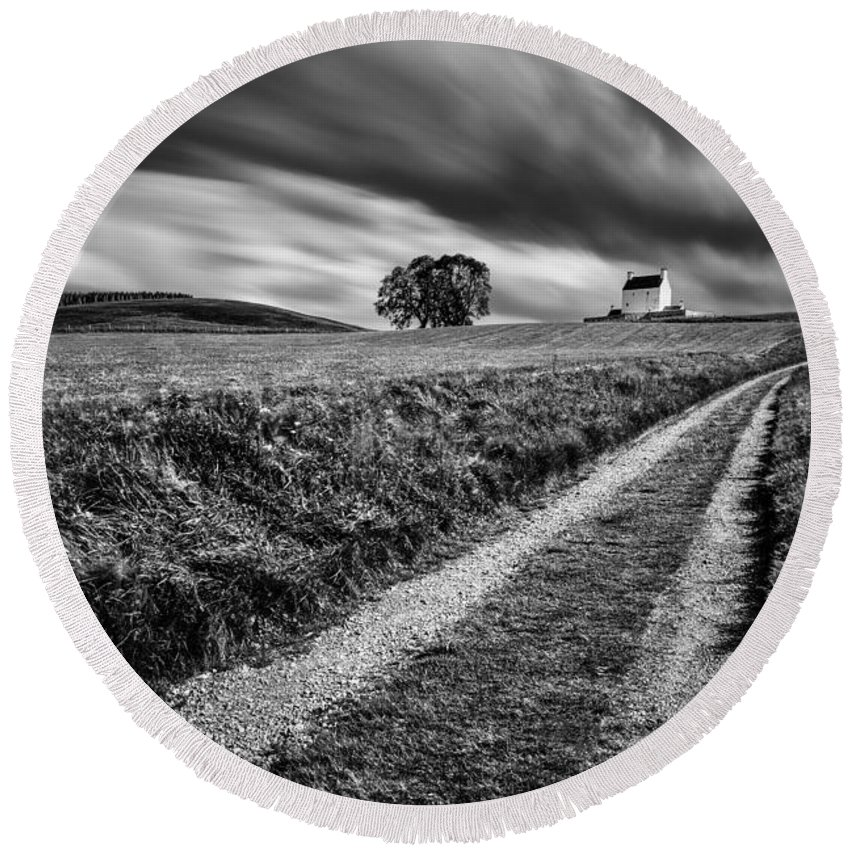 Corgarff Castle Round Beach Towel featuring the photograph Tracks To Corgarff Castle by Dave Bowman