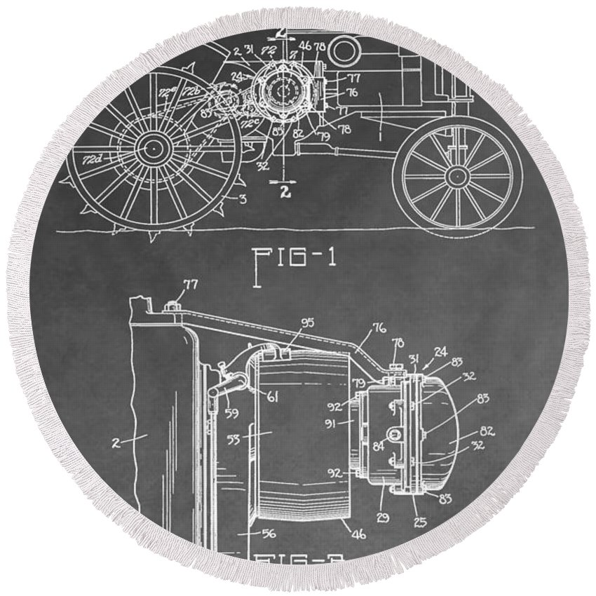 John Deere Tractor Patent Round Beach Towel featuring the digital art Tractor Patent by Dan Sproul