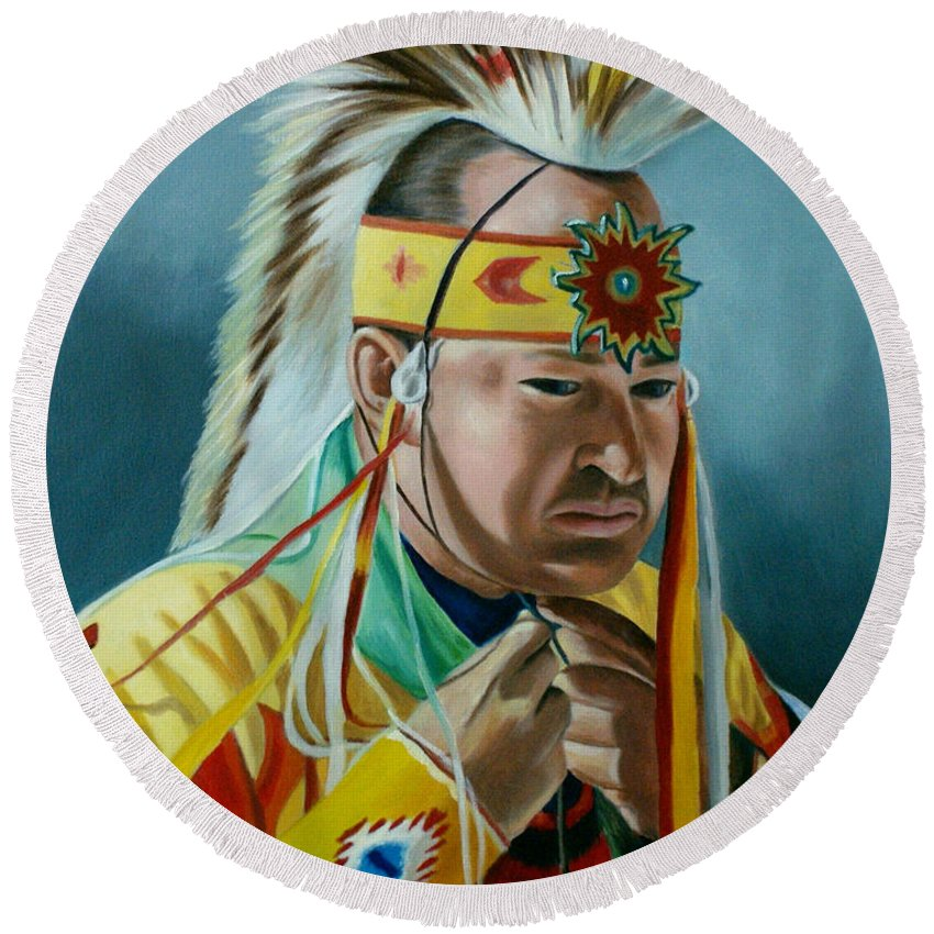 Native American Round Beach Towel featuring the painting Tradition by Jill Ciccone Pike