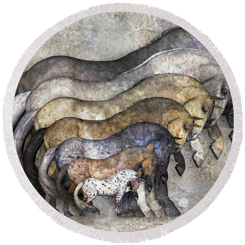 Fantasy Round Beach Towel featuring the digital art Traditional Horses by Betsy Knapp