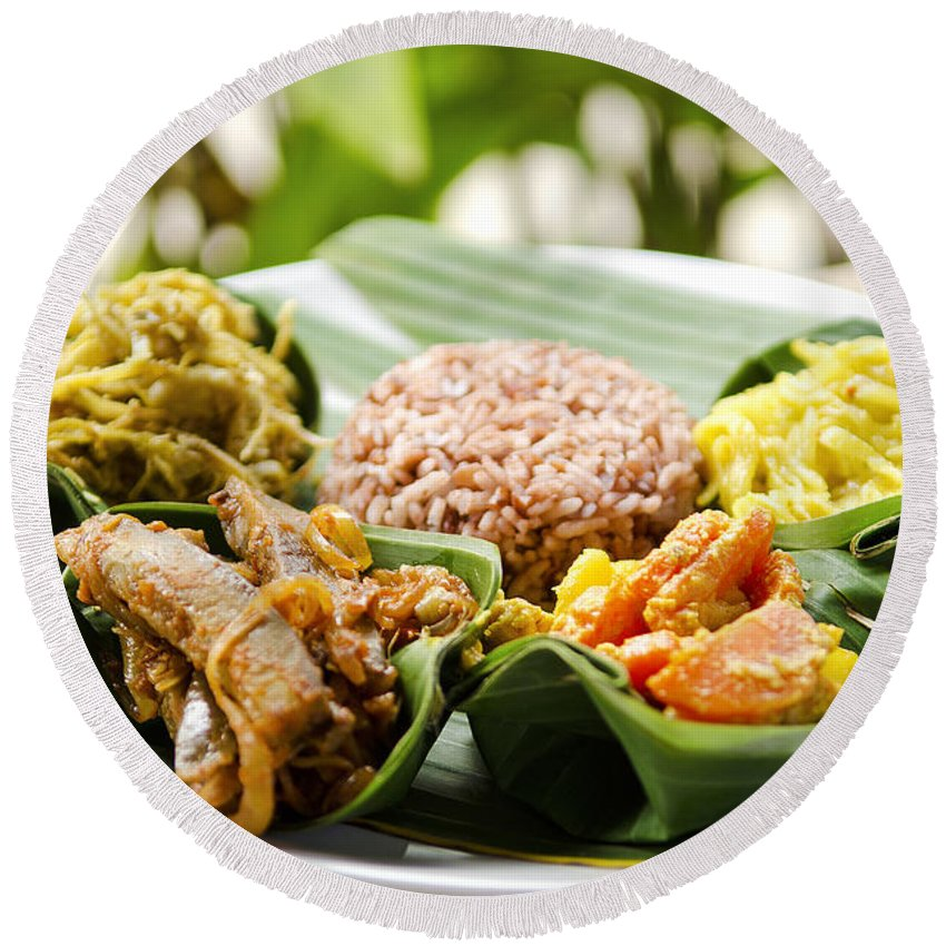 Asia Round Beach Towel featuring the photograph Traditional Vegetarian Curry With Rice In Bali Indonesia by Jacek Malipan