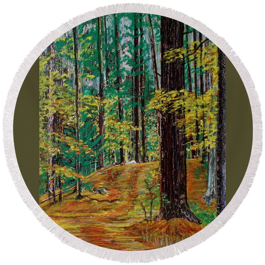 New Hampshire Round Beach Towel featuring the pastel Trail At Wason Pond by Sean Connolly