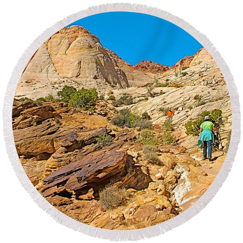 Trail Up To The Tanks From Capitol Gorge Pioneer Trail In Capitol Reef National Park Round Beach Towel featuring the photograph Trail Up To The Tanks From Capitol Gorge Pioneer Trail In Capitol Reef National Park-utah by Ruth Hager