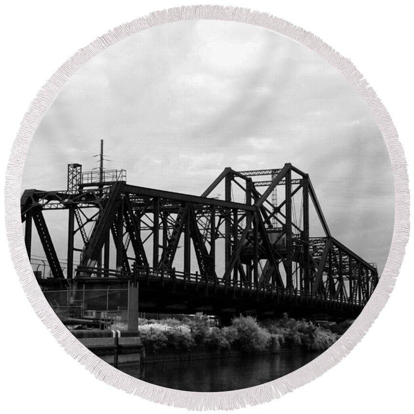 Black Round Beach Towel featuring the photograph Train Bridge by Beverly Stapleton