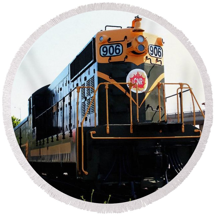 Train Museum Round Beach Towel featuring the photograph Train Museum - End Of The Line - Canadian National Railway by Barbara Griffin