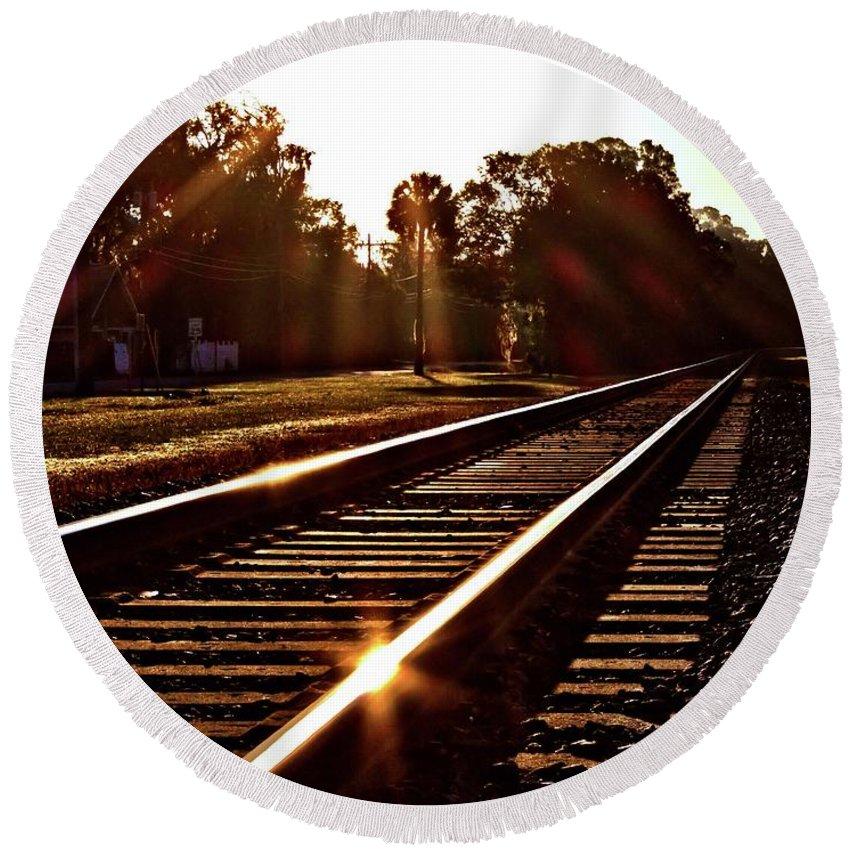 Train Tracks Round Beach Towel featuring the photograph Traintastic by Tyson Kinnison