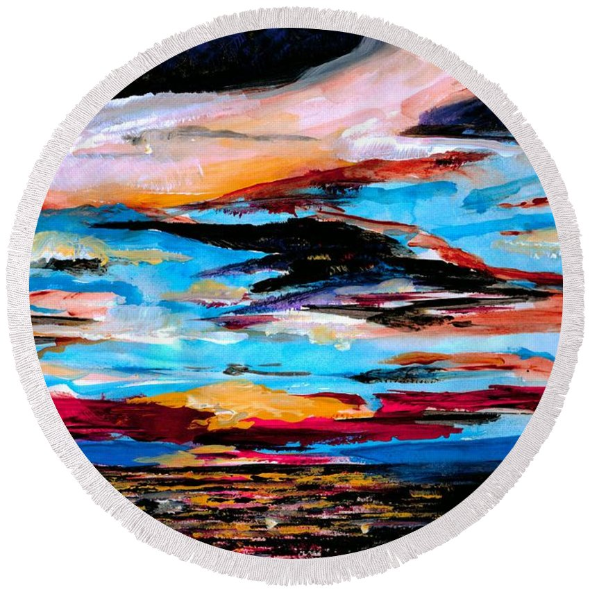 Sky Round Beach Towel featuring the photograph Tranquil Moments by Artist RiA