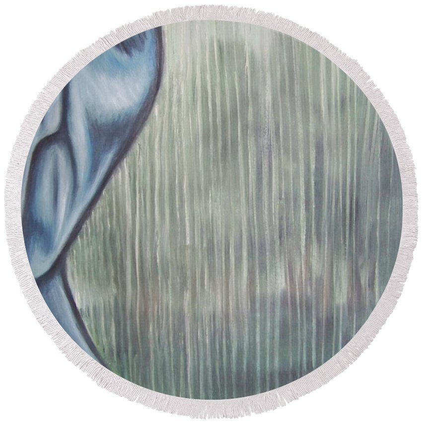 Tmad Round Beach Towel featuring the painting Tranquil Rain by Michael TMAD Finney