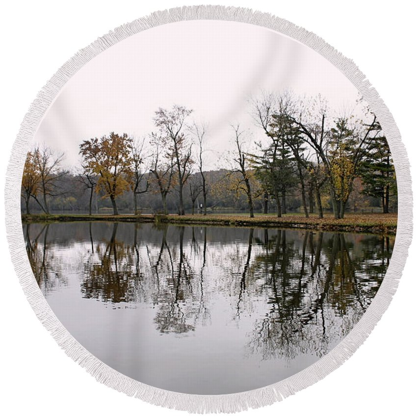 Lake Round Beach Towel featuring the photograph Tranquil Reflections by Ely Arsha