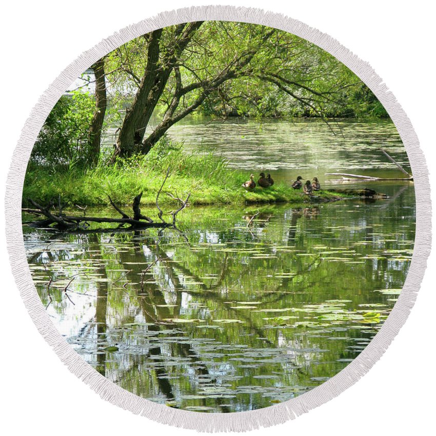 Reflection Round Beach Towel featuring the photograph Tranquility by Ann Horn