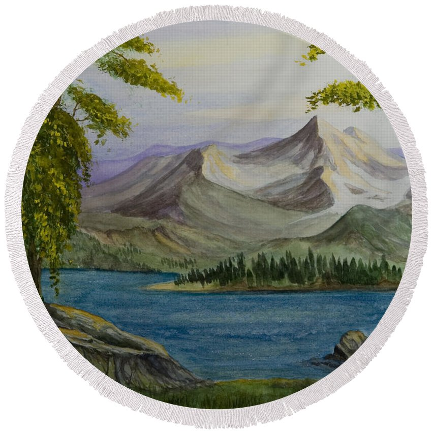 Animation Background Landscape Nature Cartoon Peaceful Mountains Lake Round Beach Towel featuring the painting Tranquility by Brenda Salamone