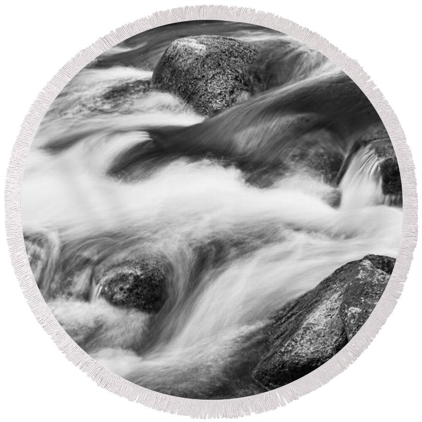 Tranquility Round Beach Towel featuring the photograph Tranquility In Black And White by James BO Insogna