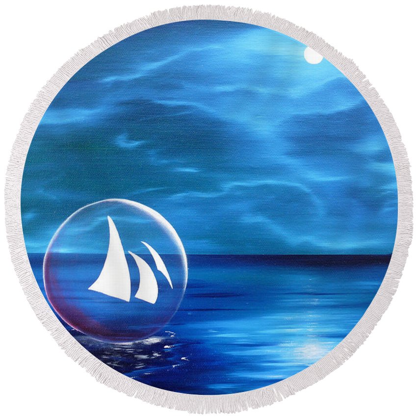 Dream Round Beach Towel featuring the painting Transcendental Transportation by Tony Oakey