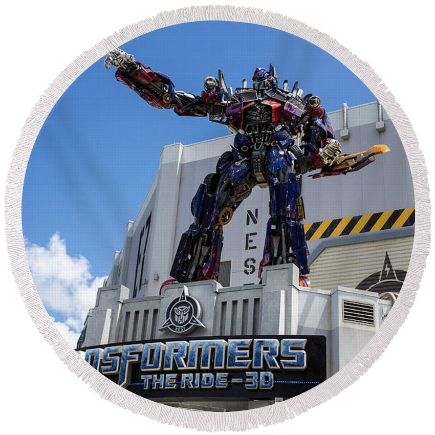 Florida Round Beach Towel featuring the photograph Transformers The Ride 3d Universal Studios by Edward Fielding