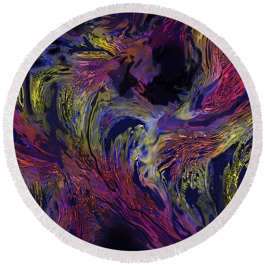 Abstract Round Beach Towel featuring the digital art Transitions by Ian MacDonald