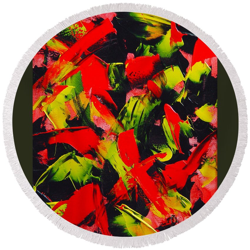 Abstract Round Beach Towel featuring the painting Transitions IIi by Dean Triolo