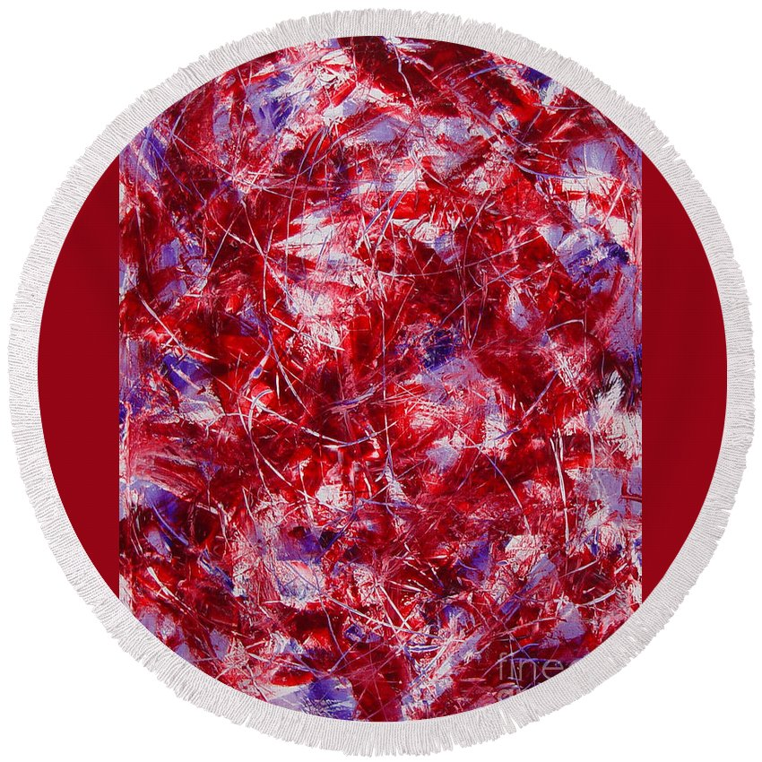 Abstract Round Beach Towel featuring the painting Transitions With White Red And Violet by Dean Triolo