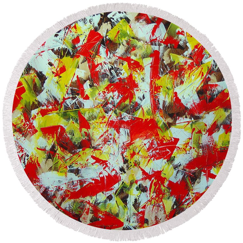 Abstract Round Beach Towel featuring the painting Transitions with Yellow Brown and Red by Dean Triolo