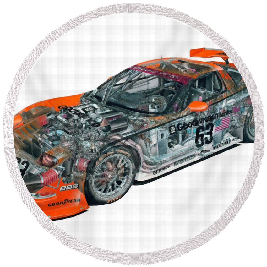 Car Round Beach Towel featuring the painting Transparent Car Concept Made In 3d Graphics 10 by Jeelan Clark