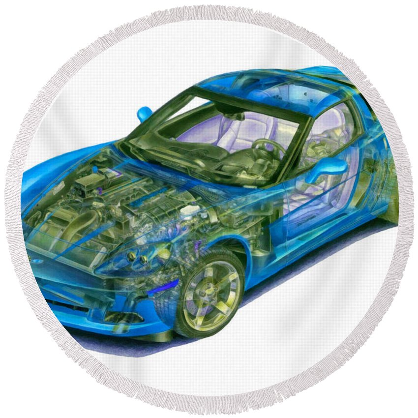 Car Round Beach Towel featuring the painting Transparent Car Concept Made In 3d Graphics 11 by Jeelan Clark