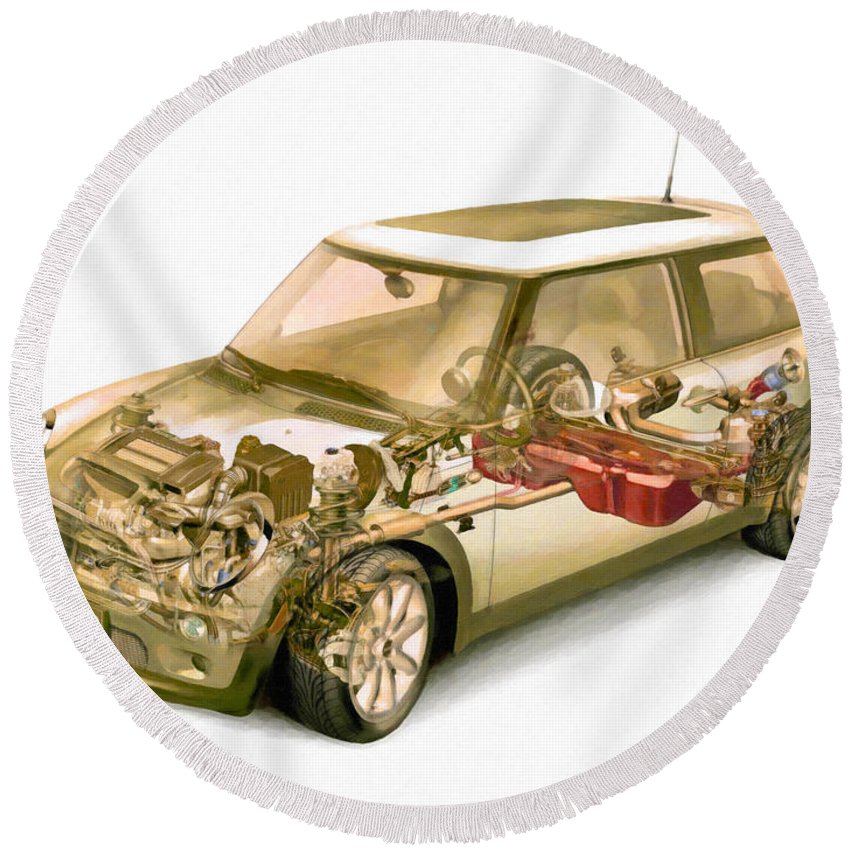 Car Round Beach Towel featuring the painting Transparent Car Concept Made In 3d Graphics 5 by Jeelan Clark