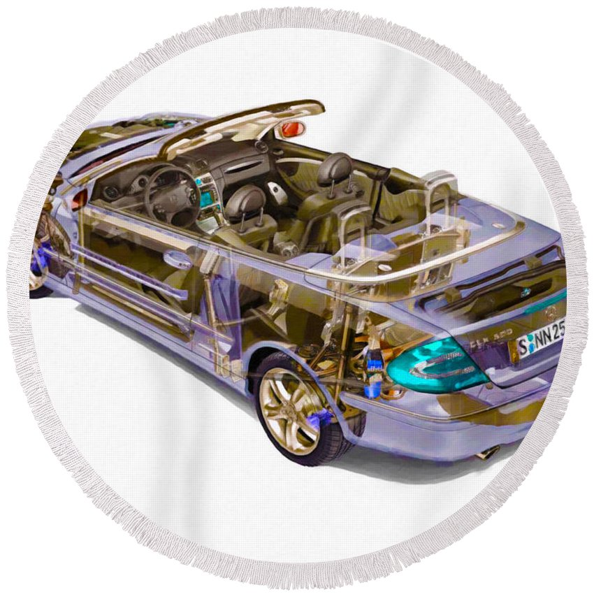 Car Round Beach Towel featuring the painting Transparent Car Concept Made In 3d Graphics 6 by Jeelan Clark