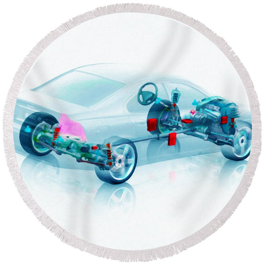 Car Round Beach Towel featuring the painting Transparent Car Concept Made In 3d Graphics 7 by Jeelan Clark