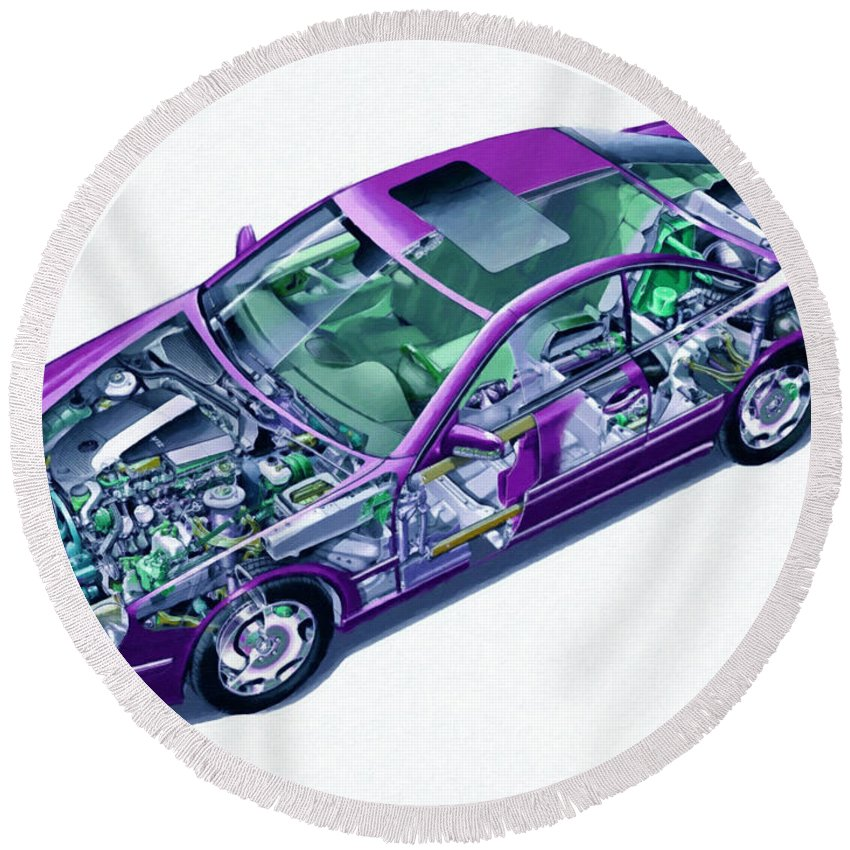 Car Round Beach Towel featuring the painting Transparent Car Concept Made In 3d Graphics 8 by Jeelan Clark
