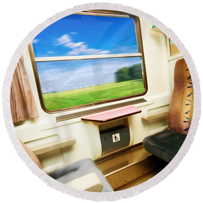 Beautiful Round Beach Towel featuring the photograph Travel In Comfortable Train. by Michal Bednarek