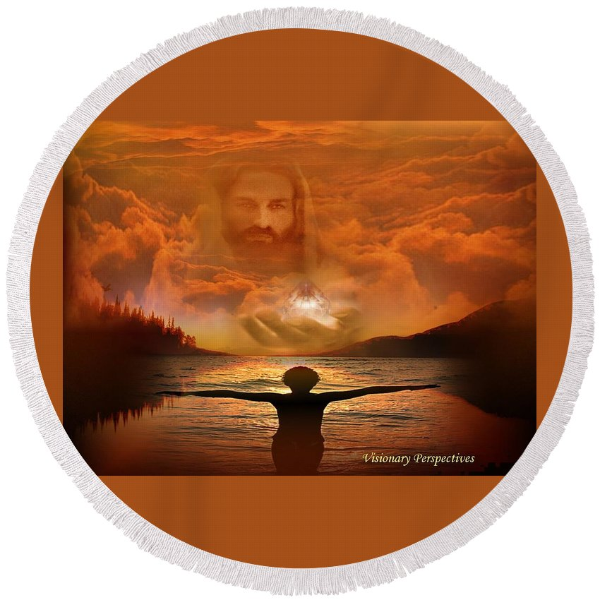 Jesus Round Beach Towel featuring the digital art Treasures Of Heaven by Jewell McChesney