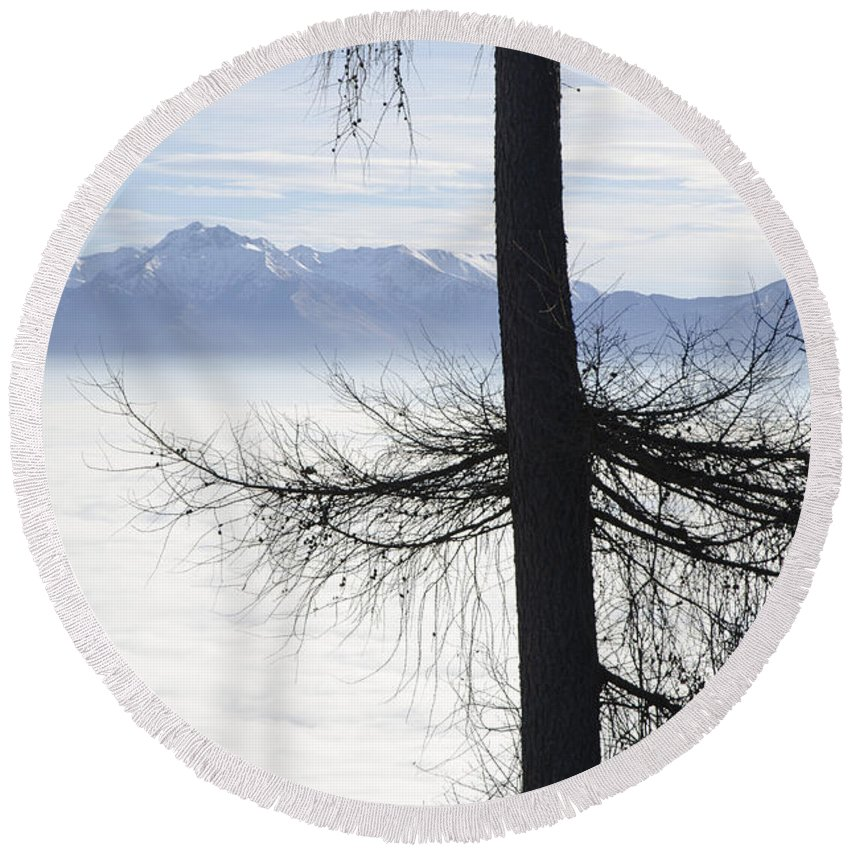 Sea Of Fog Round Beach Towel featuring the photograph Tree And Fog by Mats Silvan