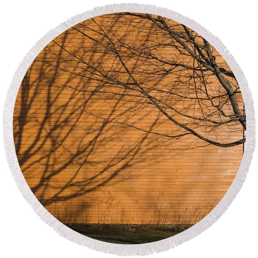 Orange Round Beach Towel featuring the photograph Tree And Shadow At Cogswells Grant by David Stone