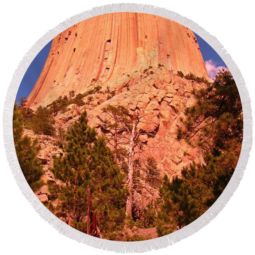 Geology Prints Round Beach Towel featuring the photograph Tree At Devils Tower by John Malone