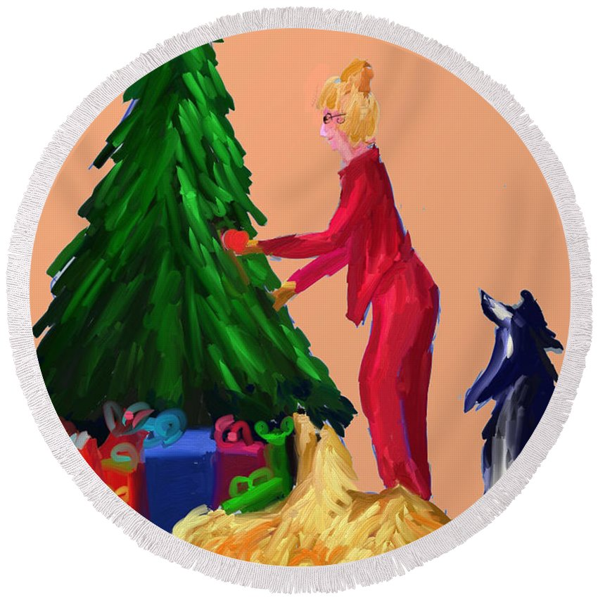 Christmas Card Round Beach Towel featuring the digital art Tree Decorating by Terry Chacon