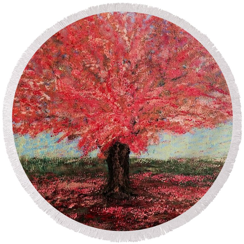 For Porch Round Beach Towel featuring the painting Tree In Fall by Suniti Bhand